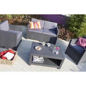 Tables chaises fauteuils achat vente tables - Monaco salon de jardin aspect rotin tresse choco ...