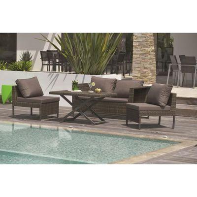 DCB GARDEN Salon de jardin Modulo 1 table basse, 1 canapé 2 places, 2  fauteuils en aluminium et résine tressée - Marron