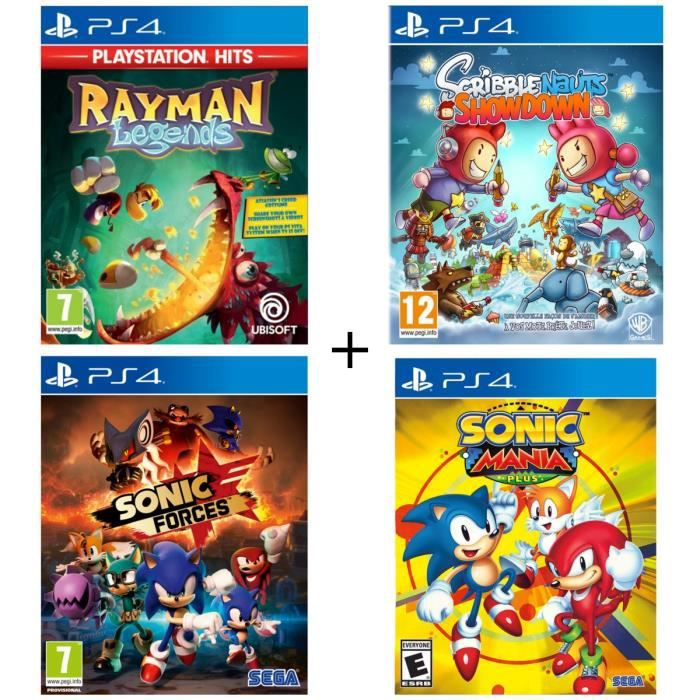 Pack 4 jeux PS4 : Rayman Legends Playstation HITS + Sonic