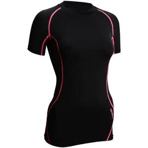 T-SHIRT DE COMPRESSION AVENTO T-Shirt de Compression - Femme - Noir et Ro