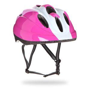 CASQUE DE VÉLO Casque vélo, rose et blanc, taille : 48 - 52 cm.