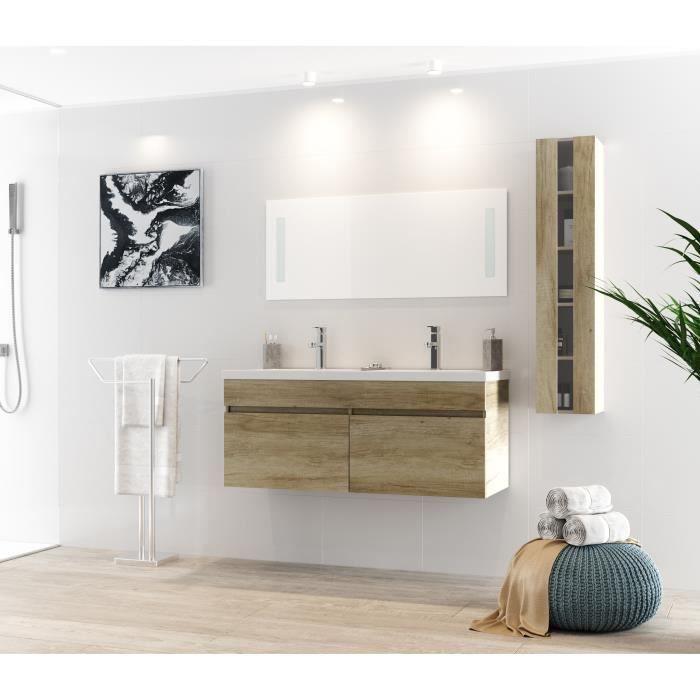 Alban ensemble salle de bain double vasque l 120 cm avec for Meuble salle de bain 80 cm pas cher
