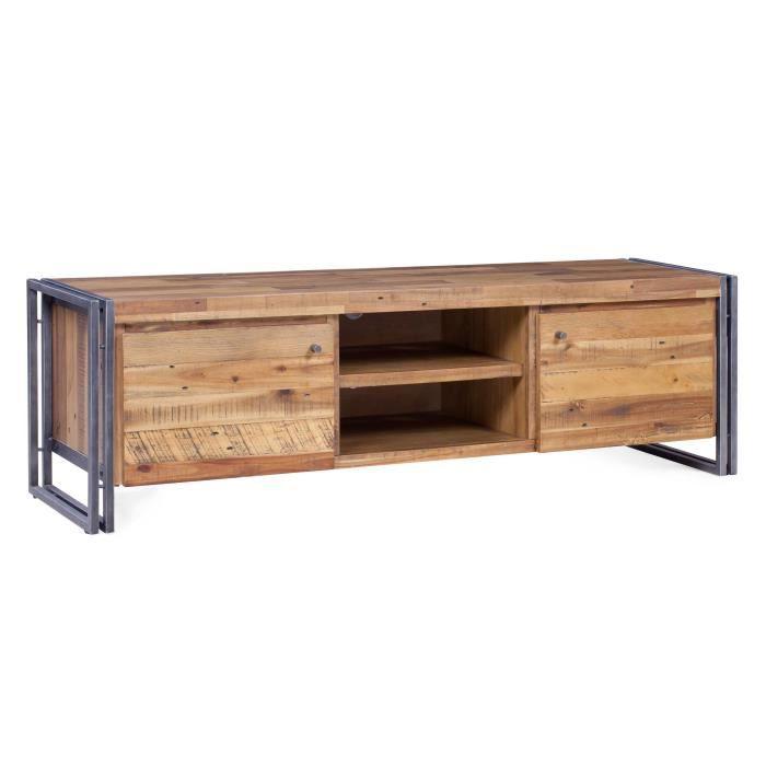 meuble tv industriel en m tal et mdf plaqu pin et acacia l 165 cm achat vente meuble tv. Black Bedroom Furniture Sets. Home Design Ideas