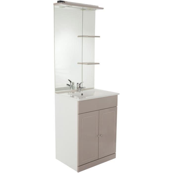 TOLEDE Salle de bain complète simple vasque 61 cm - Taupe et blanc ...