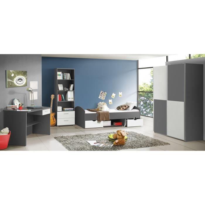 LUPO Chambre enfant complète style classique décor gris et blanc mat ...