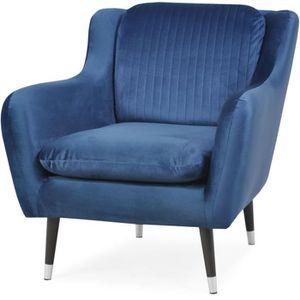 CANAPÉ - SOFA - DIVAN CELIAN Fauteuil en tissu Bleu nuit - L 85 x P 87 x
