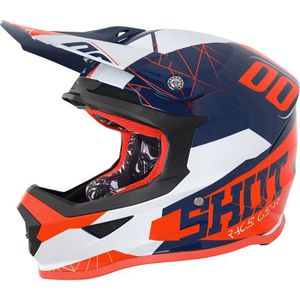 CASQUE MOTO SCOOTER SHOT Casque Cross Furious Spectre Bleu Néon Orange