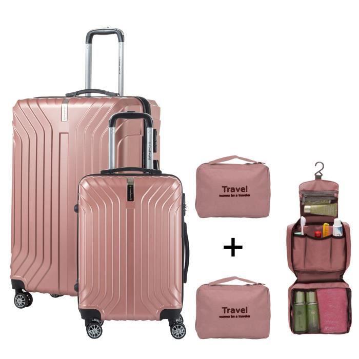 la meilleure attitude 0f2dd 3d65f TRAVEL WORLD - Set de 2 valises cabine - Rigides et Grand format - 8 roues  50-70 cm + Organisateurs de valise - Or rose