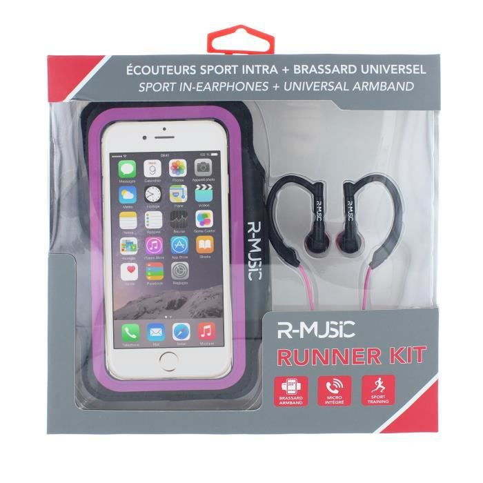 R-music Runner Kit - Ecouteurs Intra-auriculaires Filaires Brassard Universel Pour Smartphone Rose