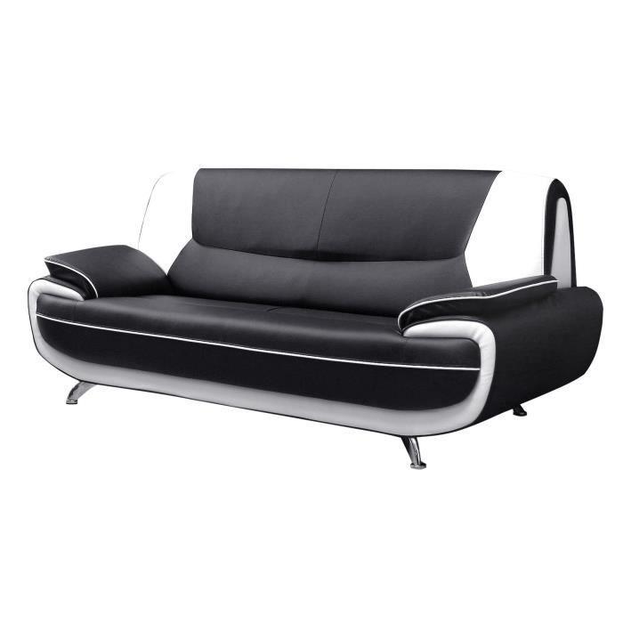 spacio canap droit fixe 3 places simili noir et blanc contemporain l 194 x p 86 cm. Black Bedroom Furniture Sets. Home Design Ideas