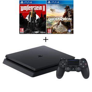 CONSOLE PS4 NOUVEAUTÉ Nouvelle PS4 Slim 500 Go Noire + 3 Jeux : Ghost Re