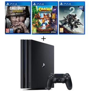CONSOLE PS4 NOUVEAUTÉ PS4 Pro Noire 1 To + 3 Jeux : Call of Duty World W