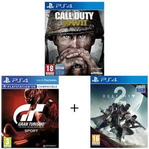 JEU PS4 Pack de 3 jeux PS4 : COD WWII + GT Gran Turismo +