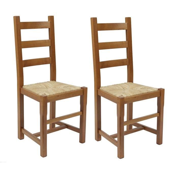 Rustica lot de 2 chaises de salle manger en h tre massif for Chaise de salle a manger en chene