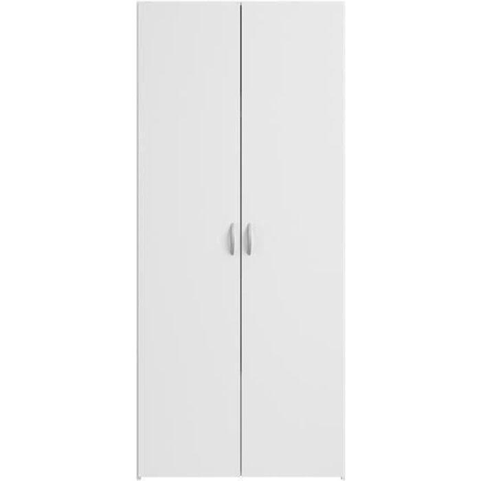 ARMOIRE DE CHAMBRE VARIA Armoire 2 portes décor blanc L81 cm