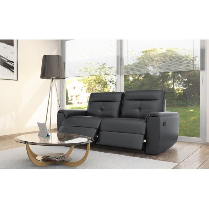 e25b87cf7a3 SERENITE Canapé de relaxation 3 places 190x93x96 - Simili noir ...