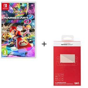 JEU NINTENDO SWITCH Mario Kart 8 Deluxe + Kit protège écran verre trem
