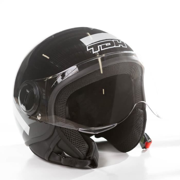 CASQUE MOTO SCOOTER THD Casque demi jet - Noir brillant