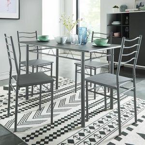 TABLE À MANGER COMPLÈTE NINA Ensemble Table à manger en métal et MDF 4 per