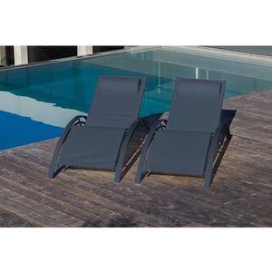 chaise longue loungitude lot de 2 transats en aluminium noir et - Transat Piscine