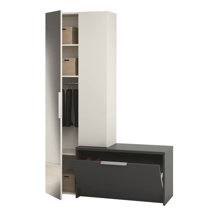 Madrid vestiaire 170cm noir et blanc miroir achat for Meuble penderie une porte