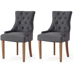 b47422dde2fbef CHAISE Lot de 2 chaises de salon pieds en bois hévéa mass