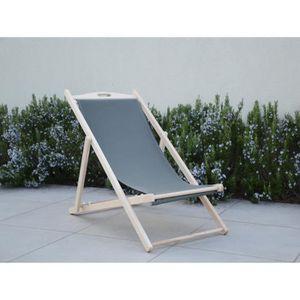 chaise longue italiadoc chaise chilienne en htre masif et toile - Chilienne Pas Cher