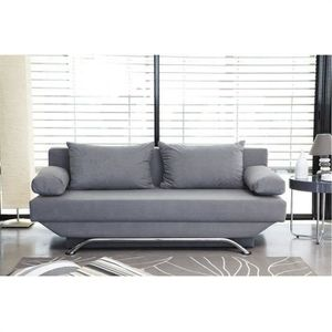 CLIC-CLAC Banquette convertible TEIJO 3 places - Tissu gris