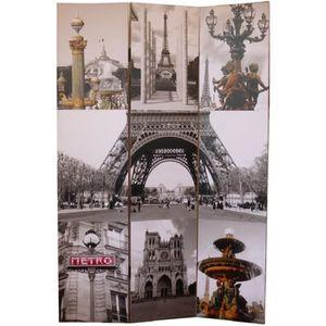 PARAVENT Paravent Paris 180 x 120 cm en sapin gris et jaune