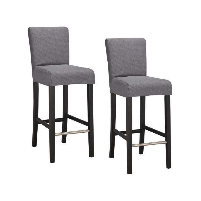 elvis lot de 2 tabourets de bar en tissu gris achat. Black Bedroom Furniture Sets. Home Design Ideas