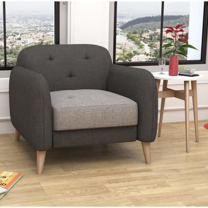 clemm fauteuil sawana anthracite gris achat vente fauteuil cdiscount. Black Bedroom Furniture Sets. Home Design Ideas