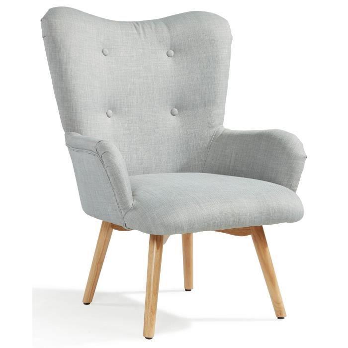 Iris fauteuil scandinave en tissu effet lin gris achat vente fauteuil gri - Fauteuil crapaud lin gris ...