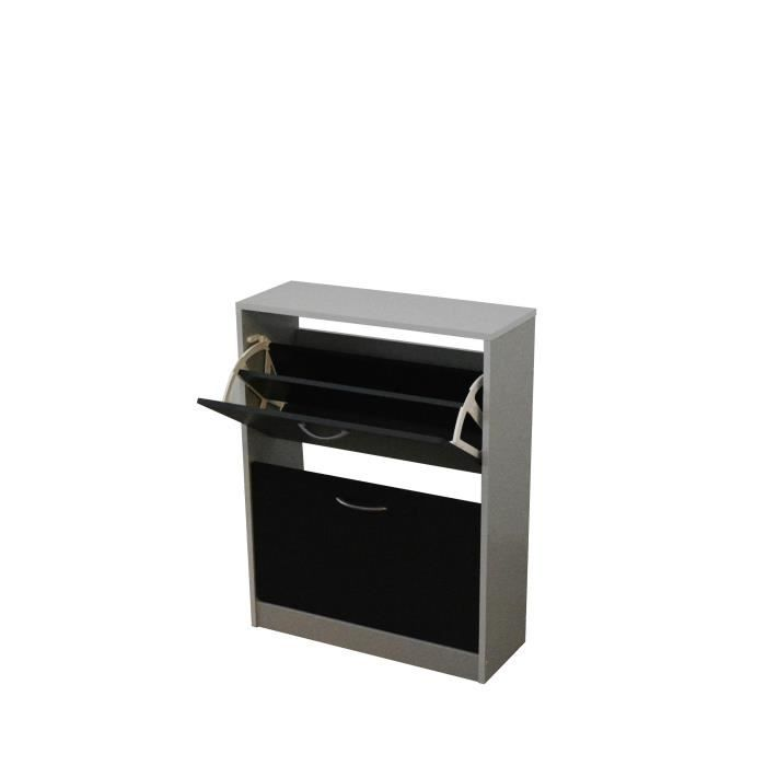SCARPA Meuble à chaussures contemporain noir et gris mat - Achat ... 049166ef6496