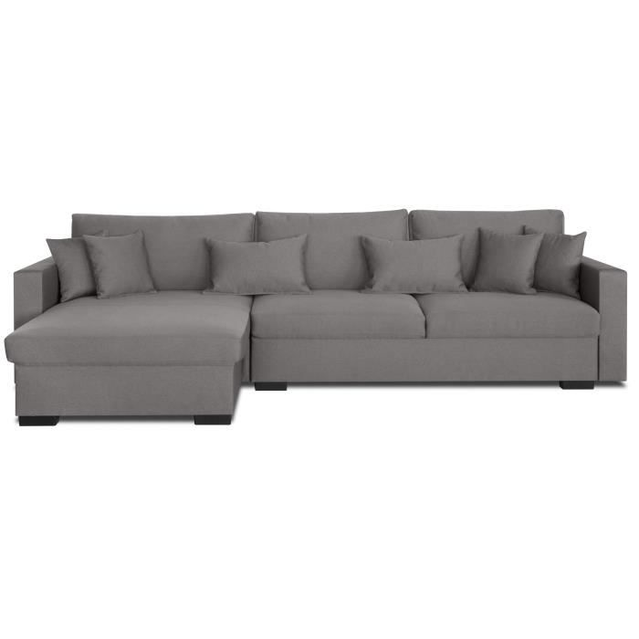 Malma Canape D Angle Reversible 5 Places Tissu Gris Taupe