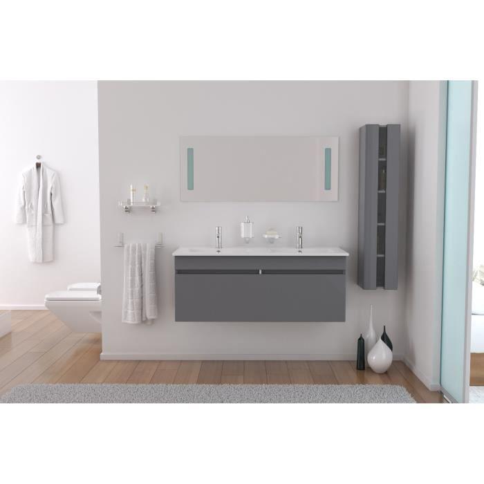 Alban salle de bain compl te double vasque 120 cm gris for Achat salle de bain complete