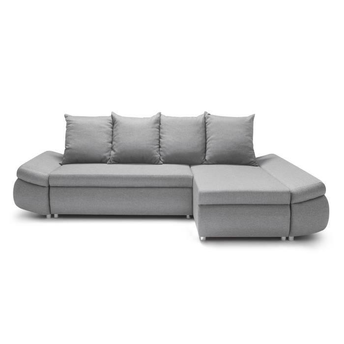 OLIVER Canapé Dangle Réversible Convertible Places Tissu Gris - Canapé d angle gris clair
