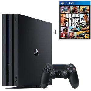 CONSOLE PS4 NOUVEAUTÉ PS4 Pro Noire 1 To + GTA V + Qui-es-tu ? (Jeu Play
