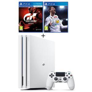 CONSOLE PS4 NOUVEAUTÉ PS4 Pro Blanche 1 To + 2 Jeux : FIFA 18 + Gran Tur