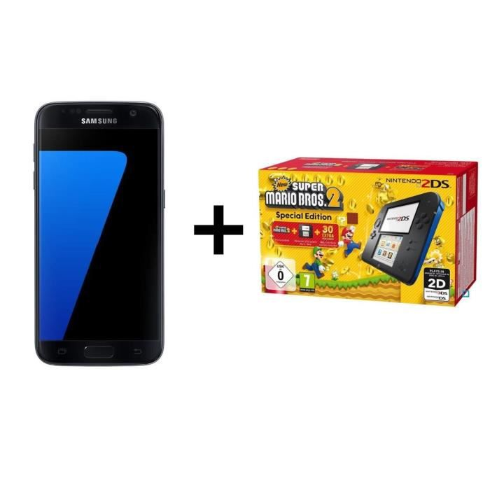 SMARTPHONE Samsung Galaxy S7 Edge Noir + 2DS Bleue + New Supe