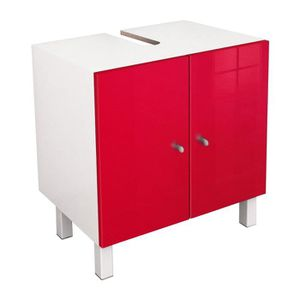 MEUBLE VASQUE - PLAN CORAIL Meuble sous lavabo L 60 cm - Rouge brillant