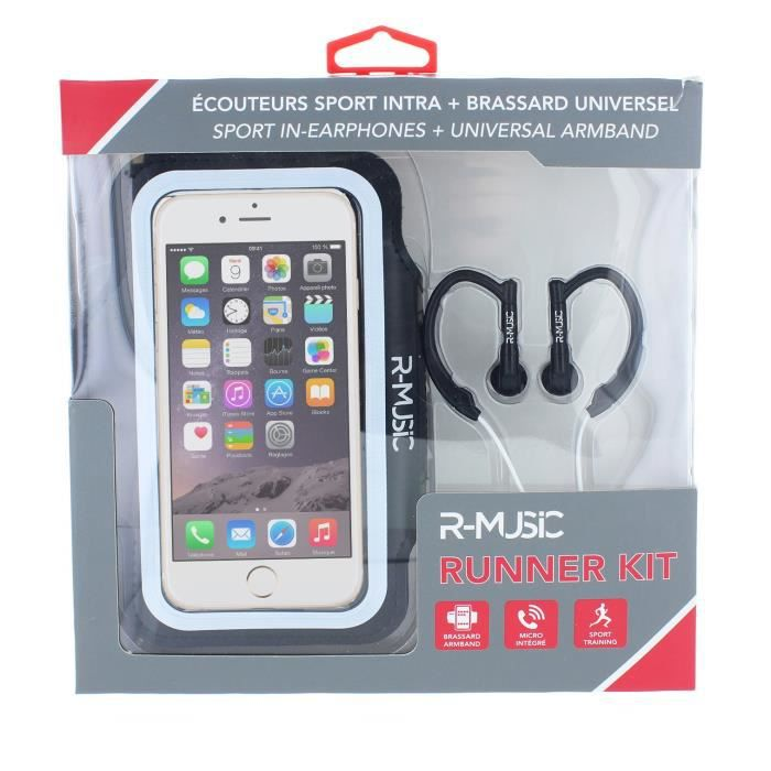 R-music Runner Kit - Ecouteurs Intra-auriculaires Filaires Brassard Universel Pour Smartphone Blanc