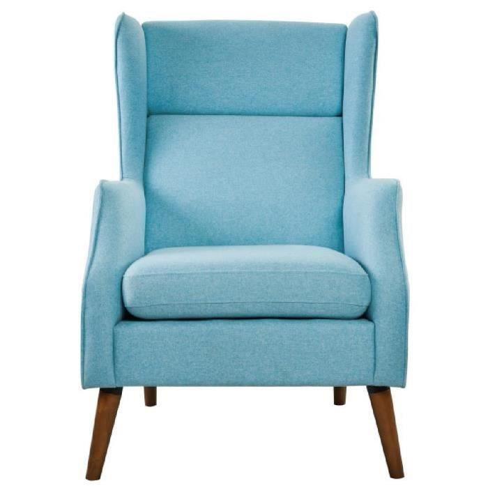 james fauteuil en bois massif tissu bleu style - Fauteuil A Oreille Pas Cher