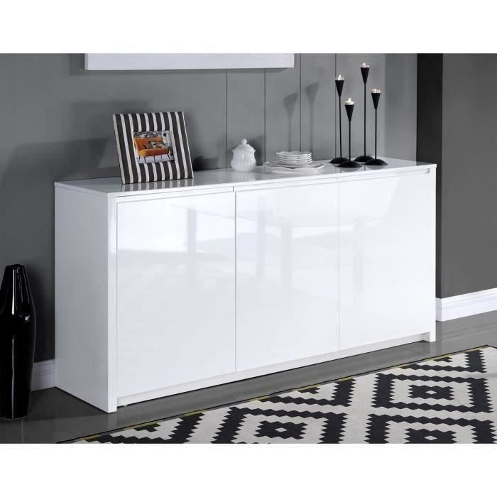 polaris buffet contemporain laqu blanc brillant l 160 cm achat vente buffet bahut. Black Bedroom Furniture Sets. Home Design Ideas