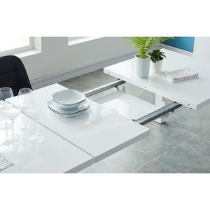 Table extensible laquee blanc achat vente table for Table a manger 4 personnes extensible