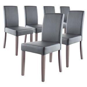 CHAISE CLARA Lot de 6 Chaises de salle à manger grises