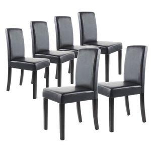 CHAISE CLARA Lot de 6 Chaises de salle à manger noires
