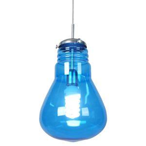 LUSTRE ET SUSPENSION Lustre - suspension verre, forme ampoule tradition