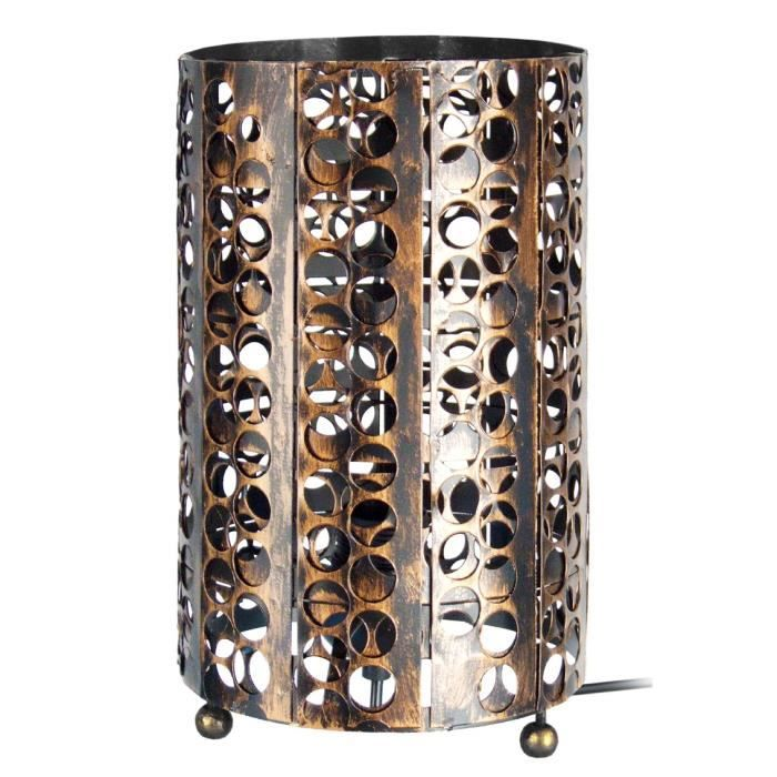 lampe poser m tal perfore forme cylindrique achat. Black Bedroom Furniture Sets. Home Design Ideas
