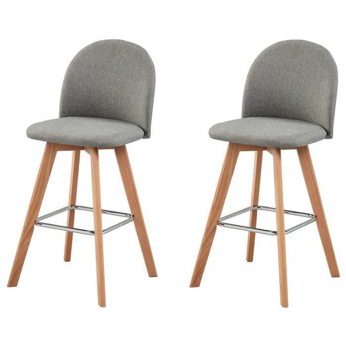 elias lot de 2 tabourets de bar en bois h tre massif rev tement tissu gris scandinave l 41. Black Bedroom Furniture Sets. Home Design Ideas