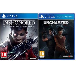 JEU PS4 Uncharted : The Lost Legacy + Dishonored : La Mort